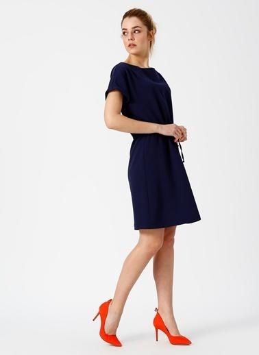 Limon Company Kısa Kollu Beli Büzgülü Elbise Lacivert
